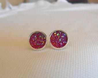 Druzy Earrings, Red Druzy Stud Earrrings, Cherry Red Druzy Studs, Faux Druzy Studs, Sparkle Studs, Red Druzy Studs, Red Studs, Druzy Jewelry
