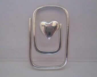Vintage Sterling Silver Heart Bookmark