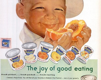 1953 Stokely Van Camp & Ford Parts Genuine Service Advertisements Vintage Baby Boy Peaches Poster Print Kitchen Diner Nursery Wall Art Decor
