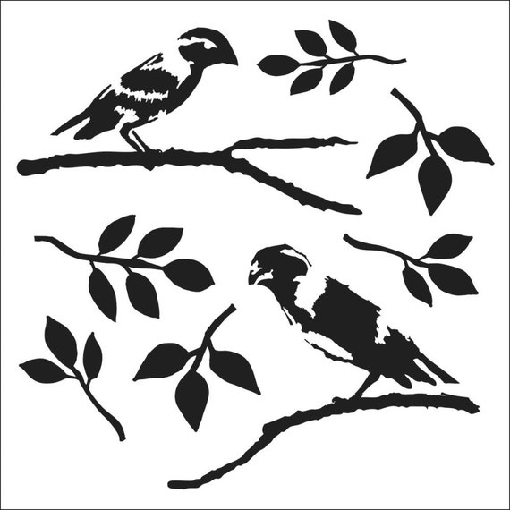 """Mini Love Birds, 6 x 6"""" Stencil /  template a Dina Wakley design perfect for mixed media, scrapbooking, journaling and so much more"""