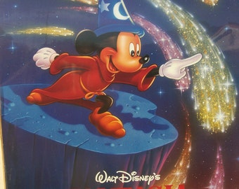 "Fantasia Disney Mickey Mouse 18"" by 24"" New in shrinkwrap poster Vintage early 1990's"