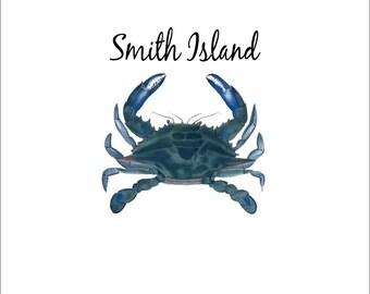 Digital Transfer, Graphic, Printable Transfer,  iron on transfers,  print, tee shirt, image, iron on, collage, Smith Island Blue crab