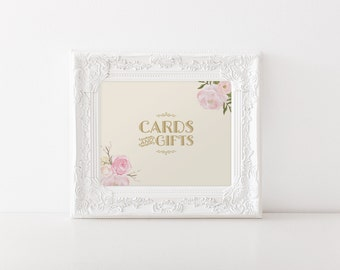 "INSTANT DOWNLOAD - Cards & Gifts Sign 8x10"" DIY Wedding Sign Printable... Cream and Gold... Peony Flower Design"
