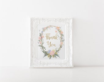 """INSTANT DOWNLOAD - Thank You Printable Sign 8x10"""" DIY Wedding Poster... Floral Pink & Gold"""