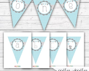 Bunny Banner, Blue and Gray / diy Bunting / Boy's Birthday, Baby Shower / Create Your Own A- Z / INSTANT DOWNLOAD - Printable