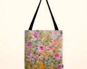 Original painted printed hand sewn Shopper tote bag canvas art handmade Market Tote Cherry Blossom  Summer