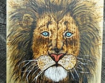 wildlife art lion painting, pyrography, woodburning, acrylic lion wall art