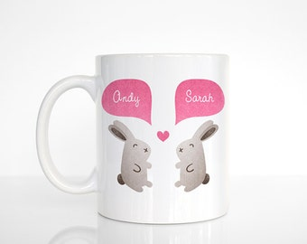 BUNNY Mug, Rabbit Mug, Animal Couple Mug, Custom Mug, Wedding Gift, Unique Coffee Mug, Personalized Mug, Wedding Mug, Coffee Cup