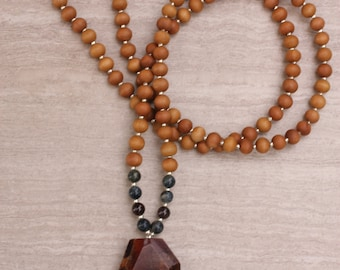 Garnet Sandalwood Mala Exclusive One-of-a-Kind - Meditation Inspired Yoga Beads / BOHO chic Mala Beads