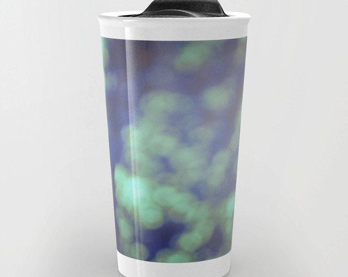 Green Travel Mug - Green Bokeh Photography - Coffee Travel Mug - Hot or Cold Travel Mug - 12oz Travel Mug - Made to Order