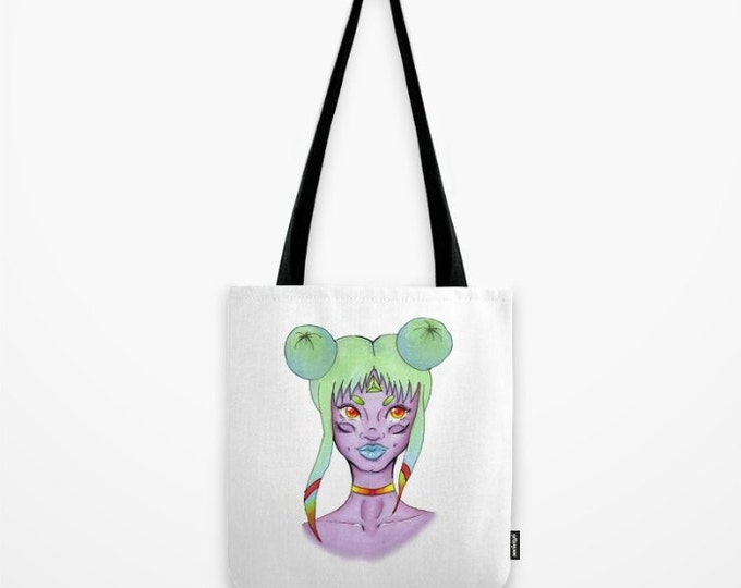 Tote Bag - Travel Tote - Carry All Bag - Grocery Bag - Beach Bag - Space Girl Hand Drawn Art - Fantasy Art - Made to Order