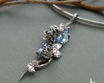 Twig pendant - Botanical silver lily pendant - handsculpted silver pendant - floral pendant - sterling silver pendant - nature lily pendant