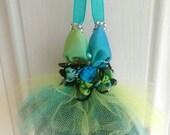 Christmas Ornament Dress Green Blue Black TuTu gift