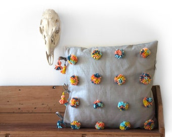 Rainbow pom/tassel linen pillow - grey