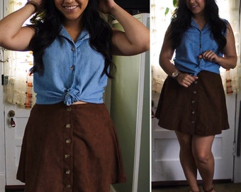 Suede Skirt / Suede Button Front Skirt / Brown Suede/ Custom A-Line Skirt