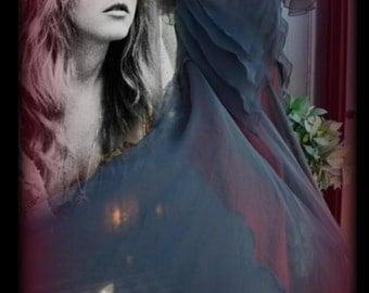 John Bates for JEAN VARON boho layered sheer black/dark red Evening dress c.1976 Stevie Nicks style