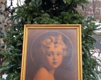 CHILD JESUS Textured Print Light Of The World by C Bosseron Chambers Edward Gross Co NY 1940s Original Gilt Wood Frame Vintage Religious Art