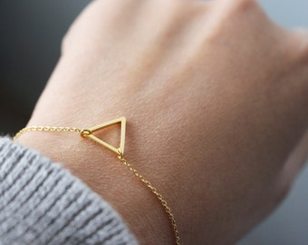 Open Triangle Bracelet - gold Triangle Bracelet