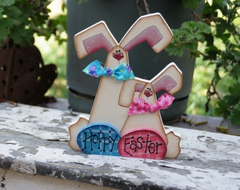Hoppy Easter - Bunny Wood Easter Decoration - Shelf Sitter