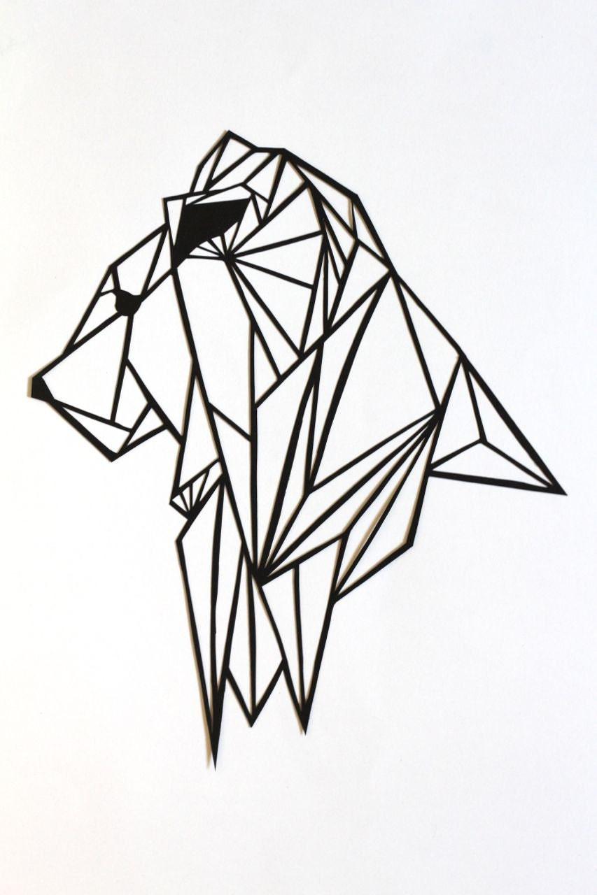 Original lion papercut art geometric papercut - Dessin geometrique a colorier ...