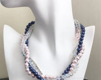 Navy and Pink Necklace, Bridal Necklace, Multistrand Pearl Necklace, Statement Necklace, Navy and Blush Necklace, Bridesmaid Gift