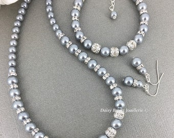 Grey Pearl necklace, Grey Necklace Bracelet Earrings Set, Bridesmaids Gifts, Bridal Jewelry, Bridesmaids Necklace, Bridesmaids Bracelet