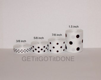 White with Black Polka Dot Grosgrain Ribbon 5 Yards (You choose the width: 3/8, 5/8, 7/8 or 1.5 Inch)