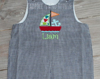 Personalized Sailboat Gingham Shortall