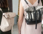 SML Wanderlust Rolltop - Small Black Backpack, Vegan Leather Tote Bag, Carry All Vacation or City Bag. Wanderlust. Back to School