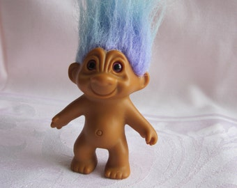 90s Troll with Blue Purple Hair Naked Troll