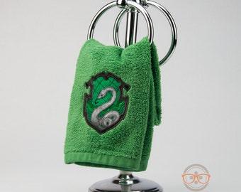 Harry Potter Hand Towel - Slytherin Hogwarts House Crest - Embroidered Geeky Bathroom Towel or Kitchen Decor