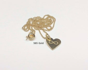 585 gold chain infinity heart