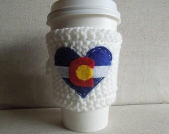 Coffee Cozy with Heart Shaped Colorado Flag, Mug Sweater, Coffee Sleeve, Mug Cozy