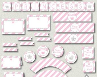 Princess Party, Little Princess Birthday, Printable Princess Party, Pink and Silver, Printable Birthday Party, Party Download, Girl Birthday