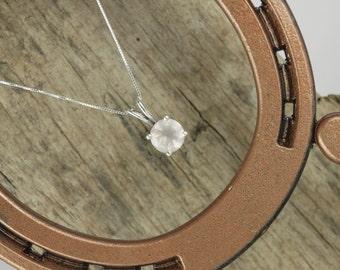 Sterling Silver Pendant/Necklace - Rose Quartz Pendant/Necklace - Sterling Silver Setting with a 10mm Natural Pink Rose Quartz Gemstone