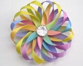 rainbow hair bow, birthday rainbow hair clip, flower hair bow, flower girl hair clip, wedding hair accessories for girls, rainbow hair clips