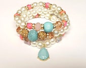 Pearl,Pink, Turquoise, Beaded Bracelet, Set, Charm Bracelet, Stretchy, Bracelet Stack,Womens Gifts, Handmade Custom Beaded Jewelry