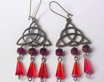 Bronze colour celtic knot, triquetra earrings. Wicca, Neopagan.