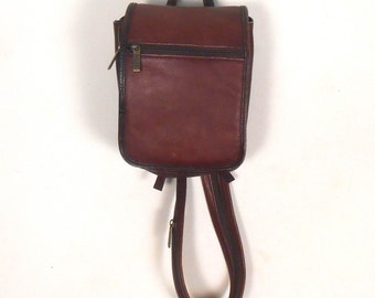 Satchel Handbag Bass Leather Brown Backpack Clutch Double Strap - Free US Shipping