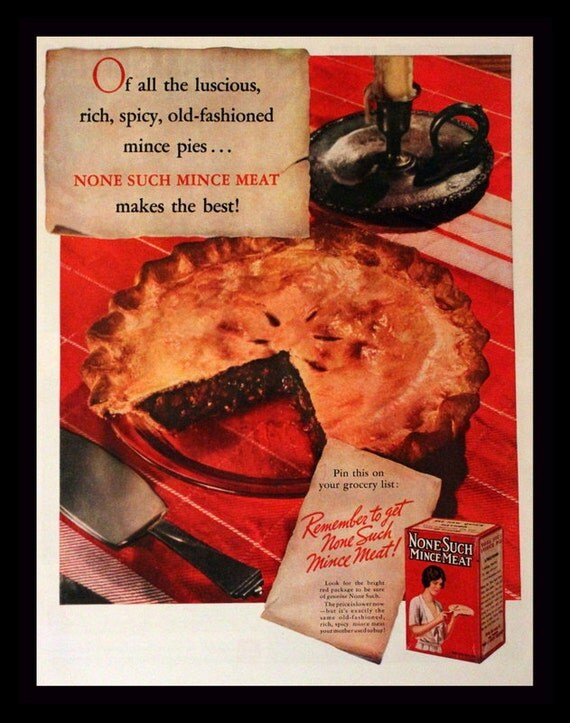 Items similar to 1937 None Such Mince Meat Ad - Mincemeat ...