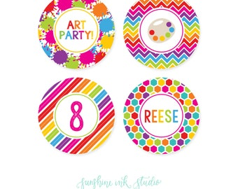 Paint Party Cupcake Toppers - Art Party Cupcake Toppers - Art Party Printables - Art Party Circles