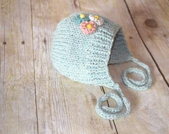 baby hat, newborn hat, knit bonnet, custom baby hat, knit flower hat, crochet baby hat, knit baby hat, baby beanie, photo prop, striped hat