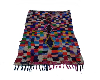"71""X45"" Vintage Moroccan rug woven by hand from scraps of fabric / boucherouite / boucherouette"