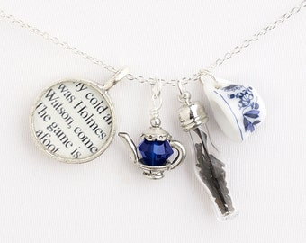 Tea With Sherlock Holmes Necklace / Personalized Book Lover Gifts / Sherlock Holmes Tea Necklace / Sherlock Jewelry / Tea and Books jewelry