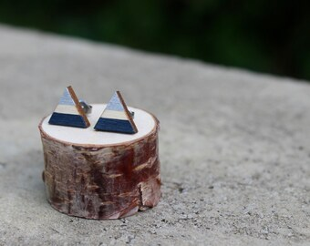 Navy and Silver Wood Geometric Earrings // Triangle Earrings // Striped Earrings // Color Block Earrings // Hand Painted Studs // Winter