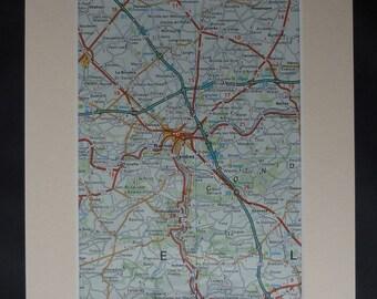 1980s Vintage Map of Namur, Available Framed, Belgian Art, Jambes Decor, Floreffe Gift, Seilles Wall Art Belgium Picture European Artwork