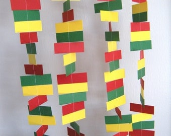 Rasta/ Birthday Party Rectangle Paper Garland - 5 Foot Strand - Red, Yellow and Green