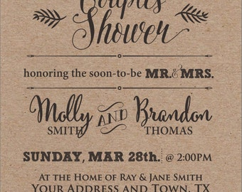 Rustic Couples Shower Invitation DIGITAL FILE ONLY
