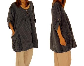HK500DBL52 tunic blouse linen layered look vintage GR 52 dark blue.
