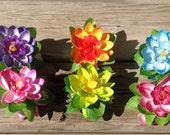 """Hawaiian 3.5"""" Silk And Foam Flower Hair Clip Or Claw Clip. Beach Or Island Wedding, Bridesmaids, Luau Hair Flower. Choose Claw Clip Or Clip!"""